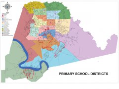 This map shows the Elementary Schools and Elementary School boundaries throughout the parish.