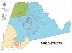 This map shows the fire districts throughout the parish.