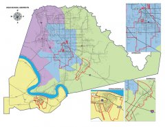 """<span style=""""text-align: -webkit-center;"""">This map shows the High schools and High School boundaries throughout the parish.</span>"""