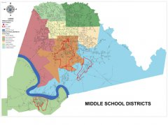 """<span style=""""text-align: center;"""">This map shows the Middle schools and Middle School boundaries throughout the parish.</span>"""